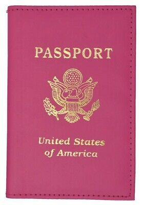Genuine Leather US Passport Cover ID Holder Wallet Travel Case Handmade Hot Pink