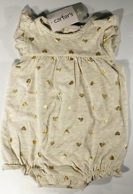 New Carter's Baby Girl Romper Grey with Gold Hearts