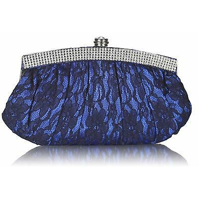 0216 Satin Lace Crystal Wedding Prom Party Evening Clutch Bag (s)