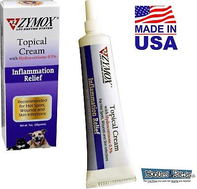 Zymox Topical Cream Dog Cat Pet For Hot Spots and Skin Infections Relief 1 oz