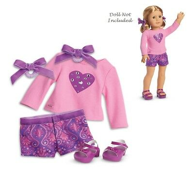"""American Girl TM SPARKLING HEARTS OUTFIT for 18"""" Dolls Truly Me Short Sandal NEW"""