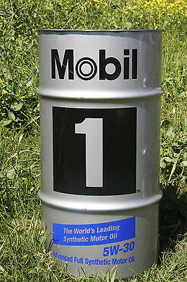 "Mobil 1 5w-20 5w-30 Drum Barrel Man Cave Shop Garbage Can 28""x15"" WITH LID!"