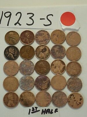 1923-S Solid Date Pennies=Roll 50 Lincoln Wheat Cents