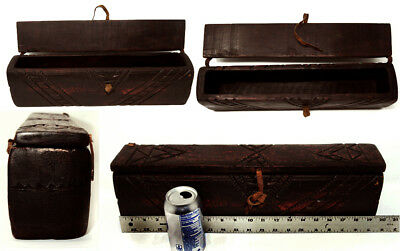 Vintage African (Ethiopian) Hand Carved Wood Candle Box Leather Hinges & Closure