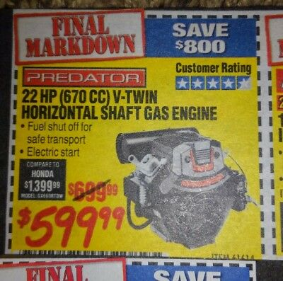 COUPON HARBOR FREIGHT on 22 hp v-twin horizontal shaft gas engine