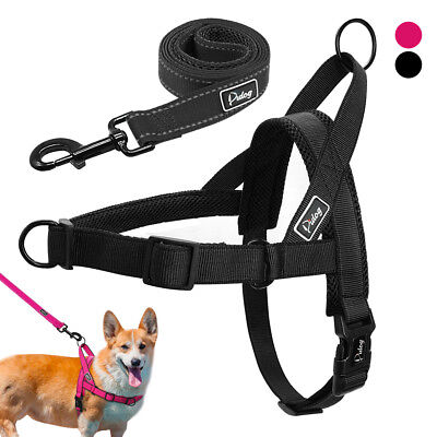 Dog Harness Lead Front Leading Small Medium Large Car Pink Black Vest Non Choke