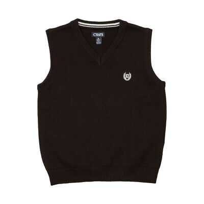 Chaps Boys Sweater Vest Black Red New