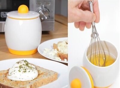 Ceramic Microwave Egg Maker Easy Cooker Poacher Breakfast Cooking Tool