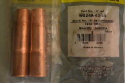 """2 Pack WeldSkill 150A, 250A, 400A Tweco WS24A-62-SS Welding Nozzle 5/8"""" Copper"""
