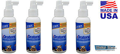 Zymox Oratene Brushless Pet Dog Cat Breath Freshener Oral Care 4 oz 4 PACK