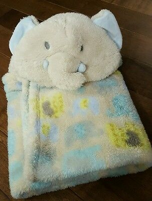 Baby Blankets & beyond elephant trunk up Blue Yellow Hooded lovey security