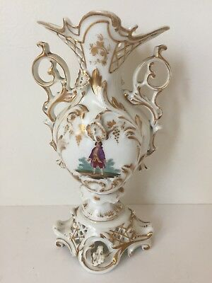 Antique White Gold Reticulated Vase Hand painted Gentleman Double Handles (BC)