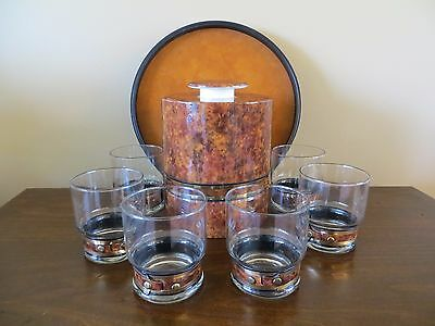 VTG  8 Pc. Glasses/ Ice Bucket/ Tray ~Faux Tortoise Shell Ice-Man California USA