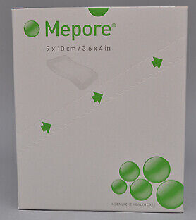 """Molnlycke Health Care Mepore 3.6"""" x 4"""" Adhesive Surgical Dressing - 50 ct"""