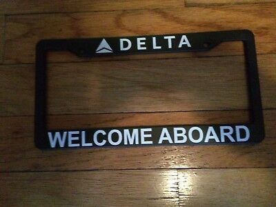 Delta Air Lines License Plate Frame - Welcome Aboard - New - Black