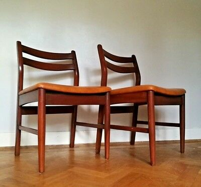 Mid century Teak and vinyl dining side chairs x 2 1960's, vintage Danish style