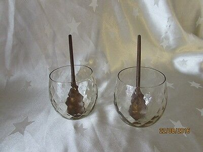 Pair of Vintage Art Glass Desert / Drinking Glasses with Wooden Spoons