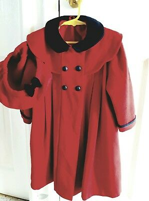 St Michael Marks&Spencer 100% wool vibrant red coat /hat girls age 2-3 lined.