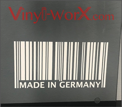 German Car Barcode Decal Sticker Banner BMW Audi VW Porsche M3 M5 911 S4 Germany