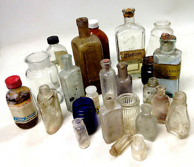 Lot of Antique Vintage Apothecary Pharmacy Bottles & Jars