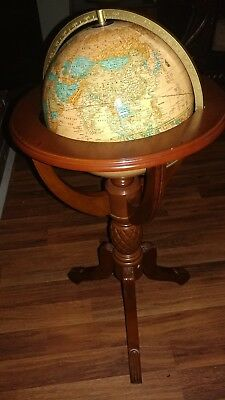 "Antique World Globe 38"" With Wooden Carved Floor Stand. Authentic Model GL047"