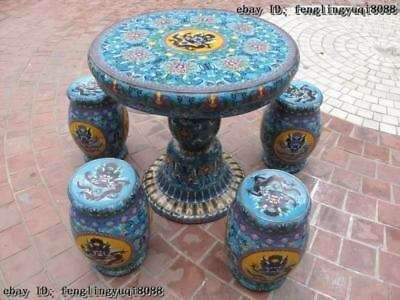 China Royal Copper cloisonne enamel Dragon round Table with Four stool seat Set