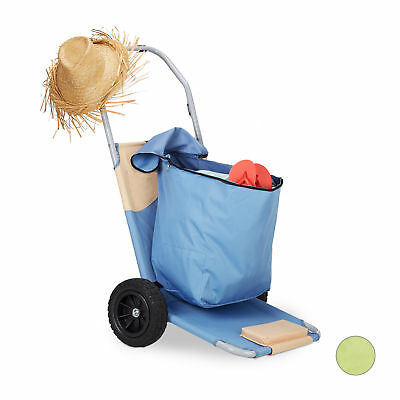 Folding Beach Cart, Beach Trolley with Bag, Transport Wagon with Adjustable Back