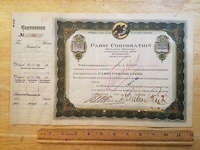 1921 Pabst Corporation PROHIBITION ERA Stock Certificate SIGNED by GUSTAVE PABST