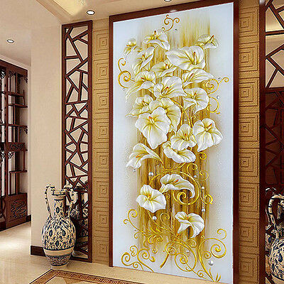 5D DIY Needlework Cross Stitch Kit Lily Flowers Embroidery Painting Print oorr