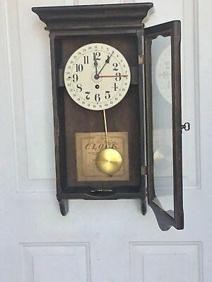 New England Clock Co.  8 day Wall Clock with Pendulum and Key, Vintage AS IS