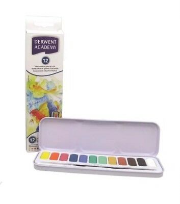 Derwent Academy Watercolour Pan Set of 12 Including Brush | Brand New