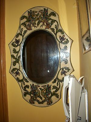 Vintage MIRROR from Greece Hand Painted + Crafted Etched Wood Designer Greek Art