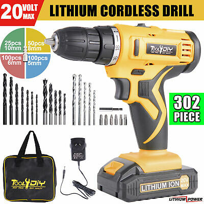 TOOL4DIY 20V Lithium Ion Cordless Drill Driver Drill Bits Set w/ Tool Bag 302pcs