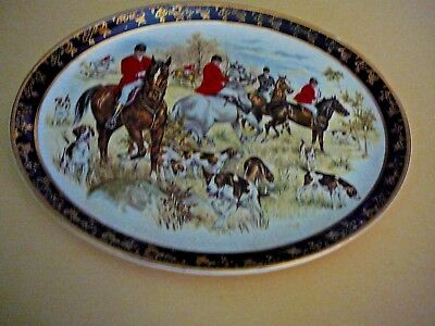 weatherby  royal falcon gift ware hunt scene horses dogs platter plate