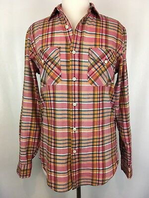 J Crew Women's Madras Red Plaid Cotton Button Down Shirt Size S Small