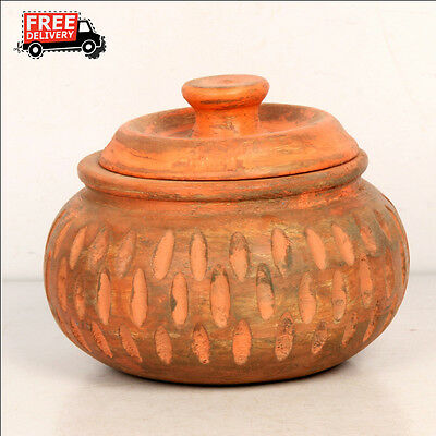 New Hand Carved Hand Painted Wooden Serving Pot Pickle Candy Jar 7899