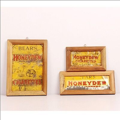 Vintage Wooden Bears Honeydew Cigarettes Ad Litho Tin Sign Board 6606