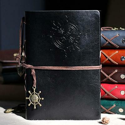 Classic Color PU Leather Retro Vintage Blank Page Notebook Journal Diary BLK Jэ