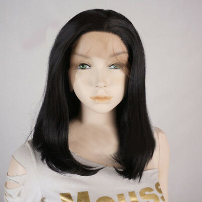 12'' Heat Resistant Cosplay Full Wig Short Black Wavy Lace Front Wig + Cap