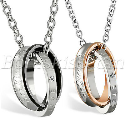 51e3e9b1ef Interlocking Ring His Queen Her King Matching Lovers Couples Pendant  Necklace