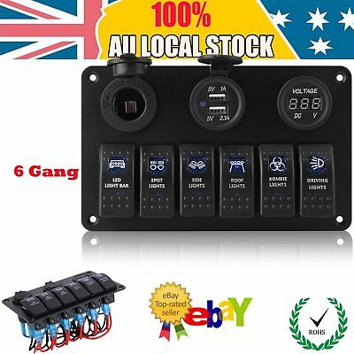 12V 24V 6Gang LED Rocker Switch Panel Circuit Breakers Charger for Boat Marine