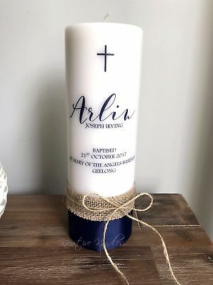 Personalised Christening Candle / Baptism Candle or Naming Day Candle Navy Twine