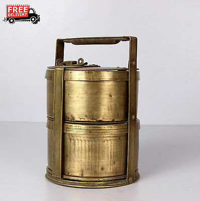 1900's Vintage Antique Brass Lunch Box Two Compartment Box  Made In India 1175