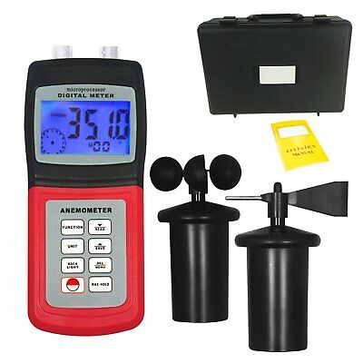 Weather Wind Velocity Direction Meter Thermo Anemometer with 3-Cup Type Sensor