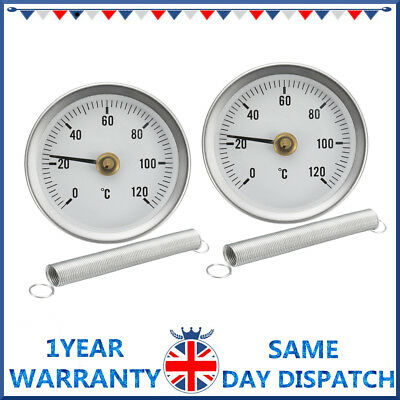 2X Hot Water Pipe Thermometer 0-120°C 63Mm Clip On Dial Temperature Gauge Spring