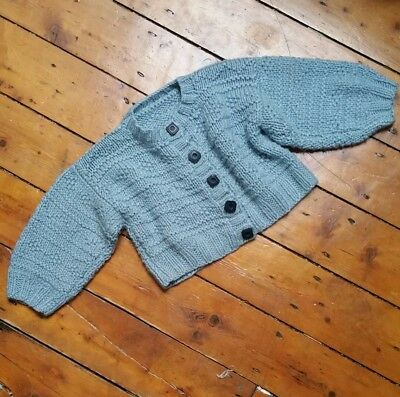 Girls vintage clothing cardigan knitwear mid blue winter warm sweater handmade