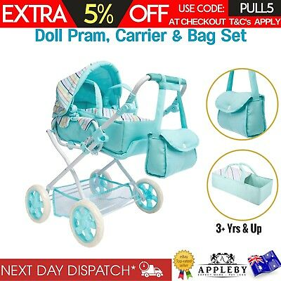 Striped Doll Pram & Bag Set of 3 Baby Stroller Carrier Play Pretend Toy Playset