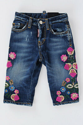 DSQUARED2 D2 Nuovo Pantalone Bambina bimba Jeans KAWAII In Denim Stretch Ricamo