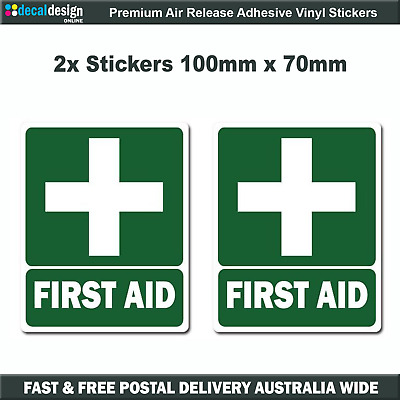 First Aid Decals 100 x 70 OH&S WHS boat car safety medical sticker x2 #F026