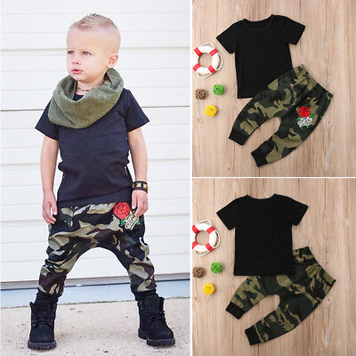 2pcs Toddler Baby Boys Girls Kids T-shirt Tops+Pants Trousers Outfit Clothes Set